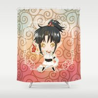 chibi Shower Curtains featuring Chibi Ashura by Neo Crystal Tokyo