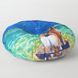 Corgi - sea admirer Floor Pillow