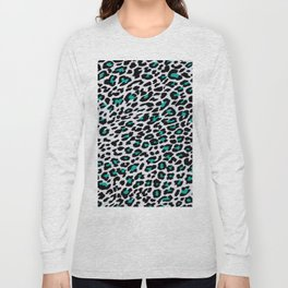 Animal Print Style Petrol Long Sleeve T-shirt