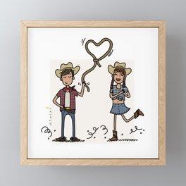 Far West Couple Framed Mini Art Print