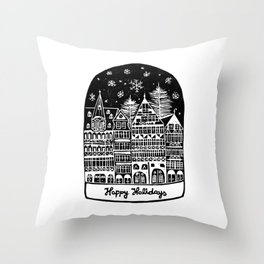 Linocut Holidays Throw Pillow
