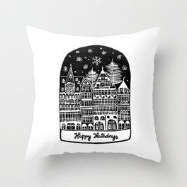 Linocut Holidays Throw Pillow