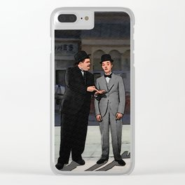 Stan Laurel & Oliver Hardy with Kirk & Spock Clear iPhone Case