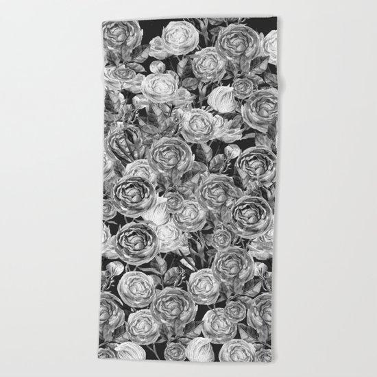 Vintage Roses Black And White Beach Towel