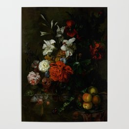 """Ernest Stuven """"Poppies, lilies, roses and other flowers in a glass vase on a draped marble ledge"""" Poster"""