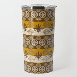 Ethnic african striped pattern with Adinkra simbols. Travel Mug