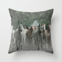 Arabian horses Throw Pillow