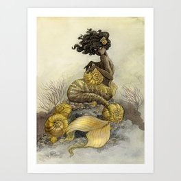 Sea Snail Mermaid Art Print