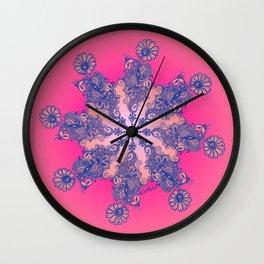 Peacock Henna Mandala Wall Clock