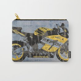 Honda Repsol newspaper collage, original art for men, gift for him, blue, yellow Carry-All Pouch