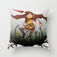 over the garden wall Throw Pillows featuring Over the garden wall by Itzitxou