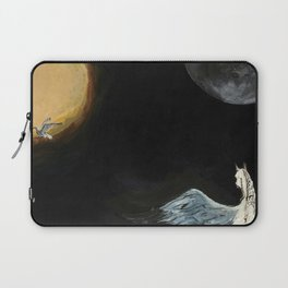 Horse flying to the moon Silver stream illustration Laptop Sleeve