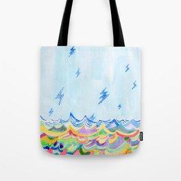 Lightning at Sea Tote Bag