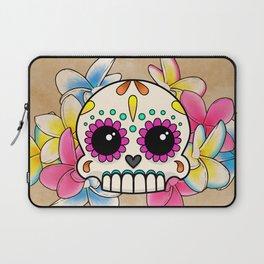 Calavera con Flores - Sugar Skull with Frangipani Flowers Laptop Sleeve