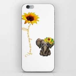 You Are My Sunshine Hippie Sunflower Elephant iPhone Skin