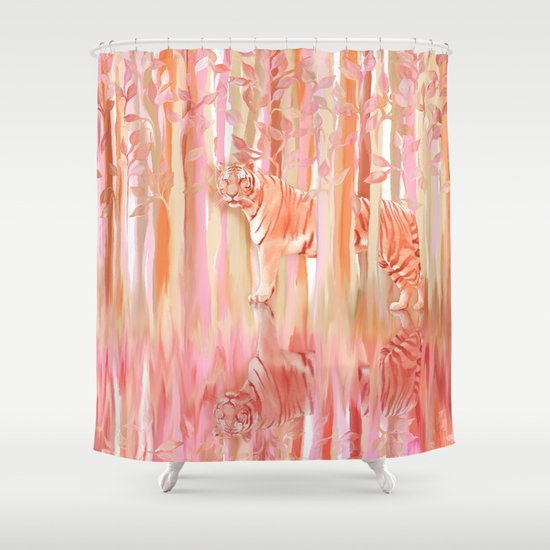 Tiger in the Trees - Painting / Collage Shower Curtain