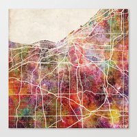 cleveland Canvas Prints featuring Cleveland by MapMapMaps.Watercolors