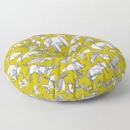 origami animal ditsy chartreuse Floor Pillow