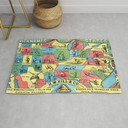 Nicknames of the States Vintage Map, 1884 Rug