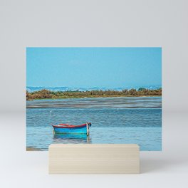 Wooden boat in the Natural Park of Camargue Mini Art Print