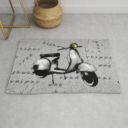 White Vespa Scooter Rug
