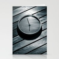 wall clock Stationery Cards featuring The Clock by Mauricio Santana