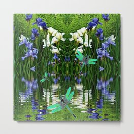 TURQUOISE DRAGONFLIES IRIS WATER REFLECTIONS Metal Print