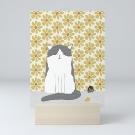 Cat and mouse illustration Mini Art Print