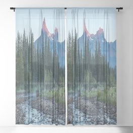 Pilot Peak - Mountain Scenery at Sunrise in Northeastern Yellowstone Sheer Curtain