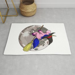 Unicorn Witch Moon Funny Halloween Horror Scary Rug