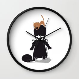 Theda & the Kats Wall Clock