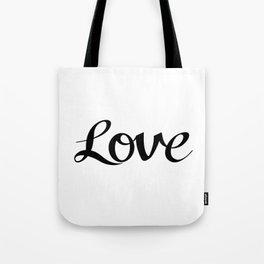 Love Cursive Script Black Tote Bag