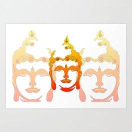 Buddha Head Illustration orange Art Print