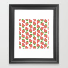 Strawberries Over White Framed Art Print