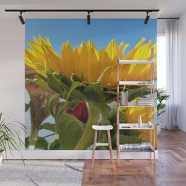 A Summer Bouquet 17 - sunflowers, roses and cockscomb Wall Mural
