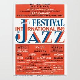 Vintage 1949 Paris International Jazz Festival Poster Poster