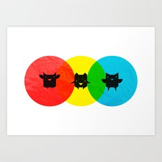 Technicolor Owls Art Print