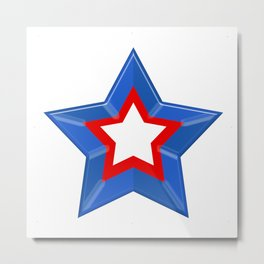 Patriotic Star Solid Red White and Blue Metal Print
