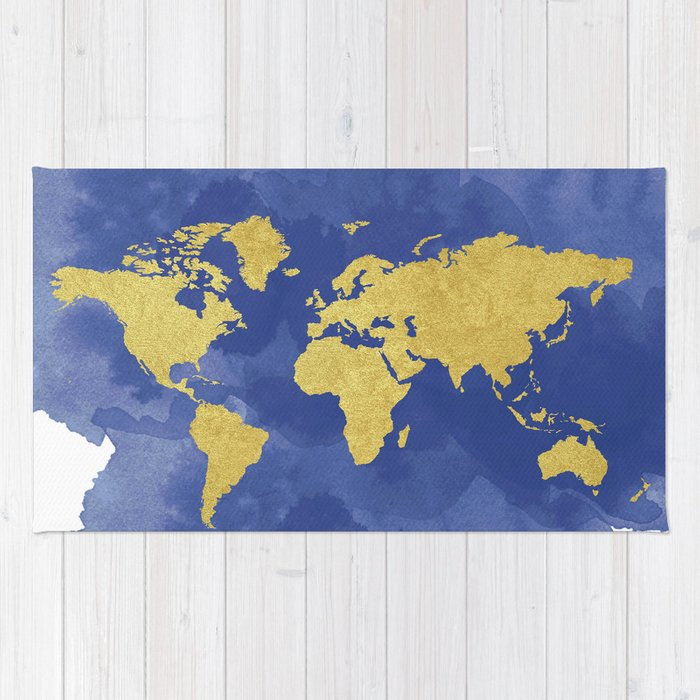 Gold Navy World Map Elegant Gold Foil Nursery Rug By