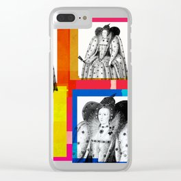 QUEEN ELIZABETH THE FIRST, 4-UP POP ART COLLAGE Clear iPhone Case