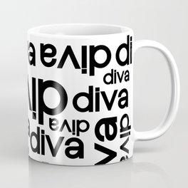 Diva Repeated Typography Text Design Coffee Mug