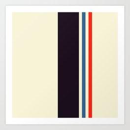 Classic Minimal Racing Car Retro Stripes - Furaribi Art Print