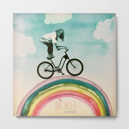 Rainbow Bicycle Metal Print