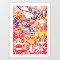 mario kart Art Prints featuring Mario kart - Sweet Sweet canyon by SweetOwls
