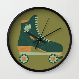 Retro Flower Skate- Forest Green Wall Clock
