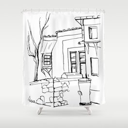 Old house on the street in the Plovdiv's old town Shower Curtain