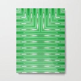 Art Deco Lime Green Spear Pattern Metal Print