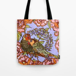 Lovebirds With Peony Wreath Tote Bag
