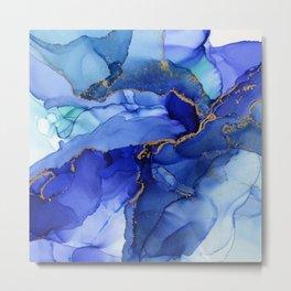 Abstract Iris Blue Floral Ink Metal Print