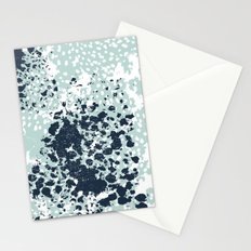 Textured mint and blue abstract painting dots pattern modern minimal art print Stationery Cards